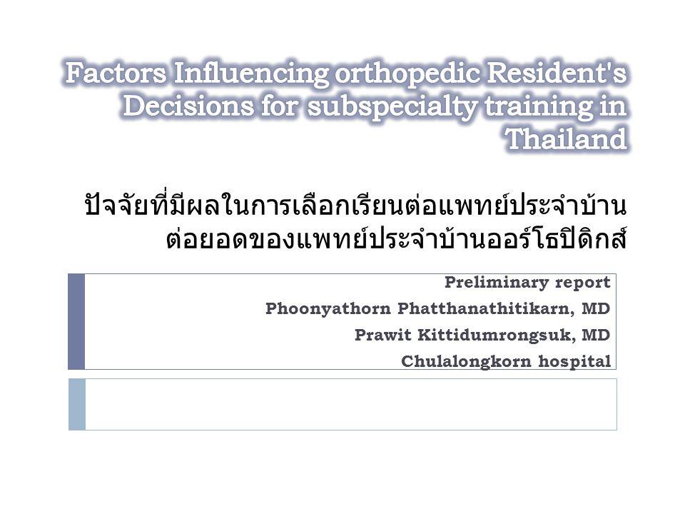 Preliminary report Phoonyathorn Phatthanathitikarn, MD Prawit Kittidumrongsuk, MD Chulalongkorn hospital