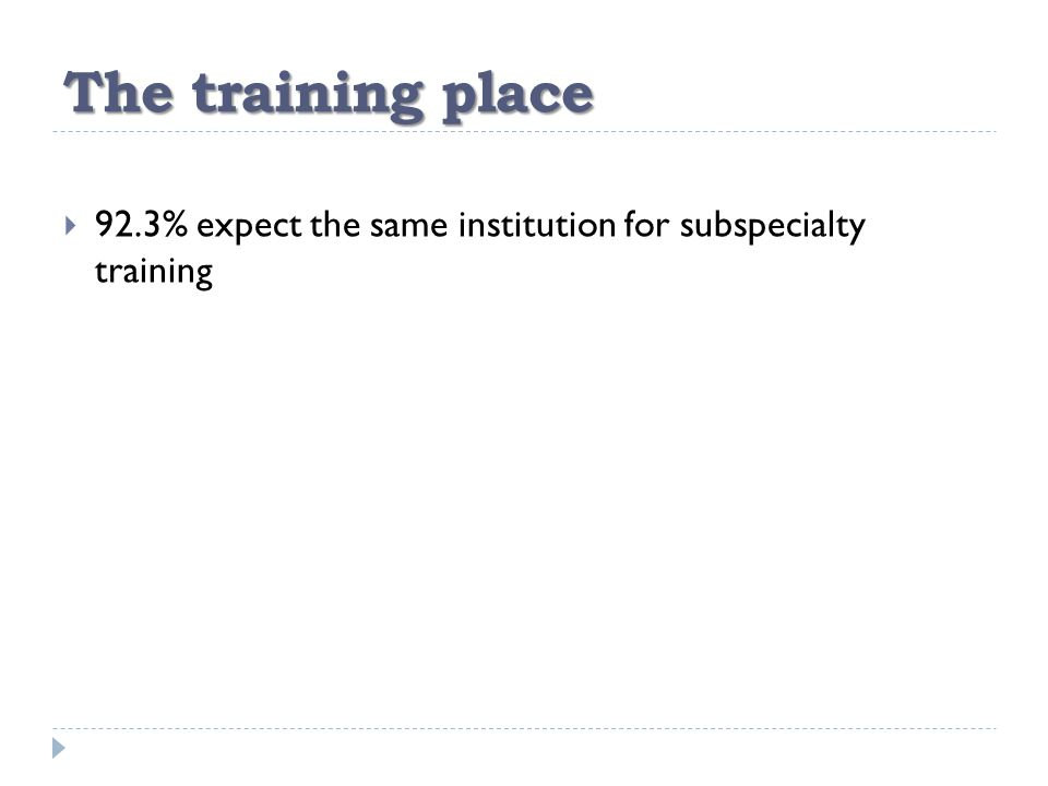 The training place  92.3% expect the same institution for subspecialty training