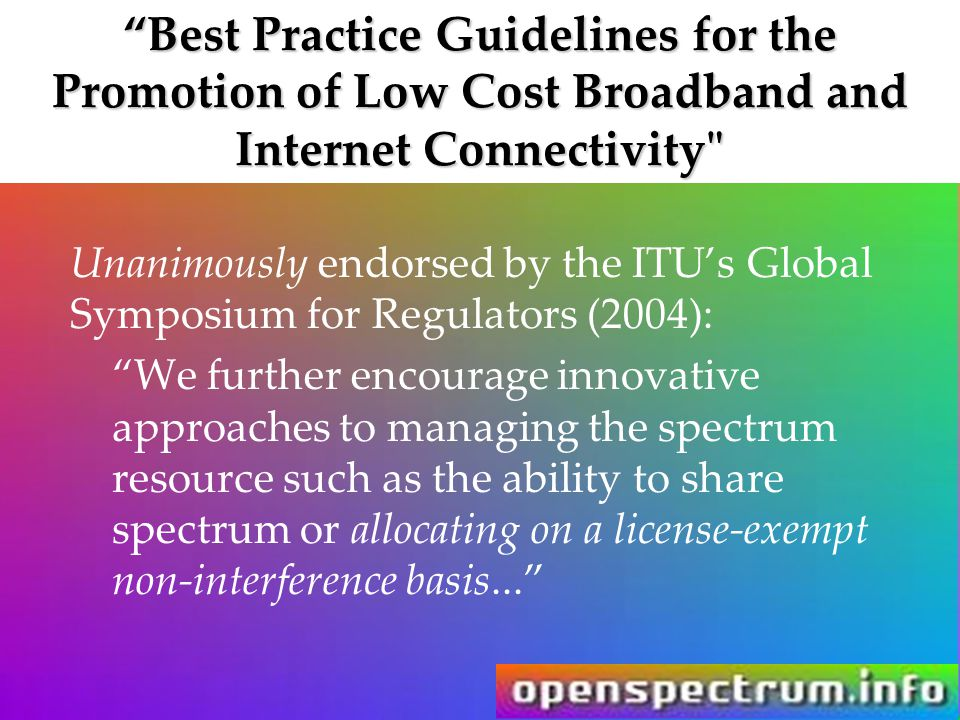 """Best Practice Guidelines for the Promotion of Low Cost Broadband and Internet Connectivity"