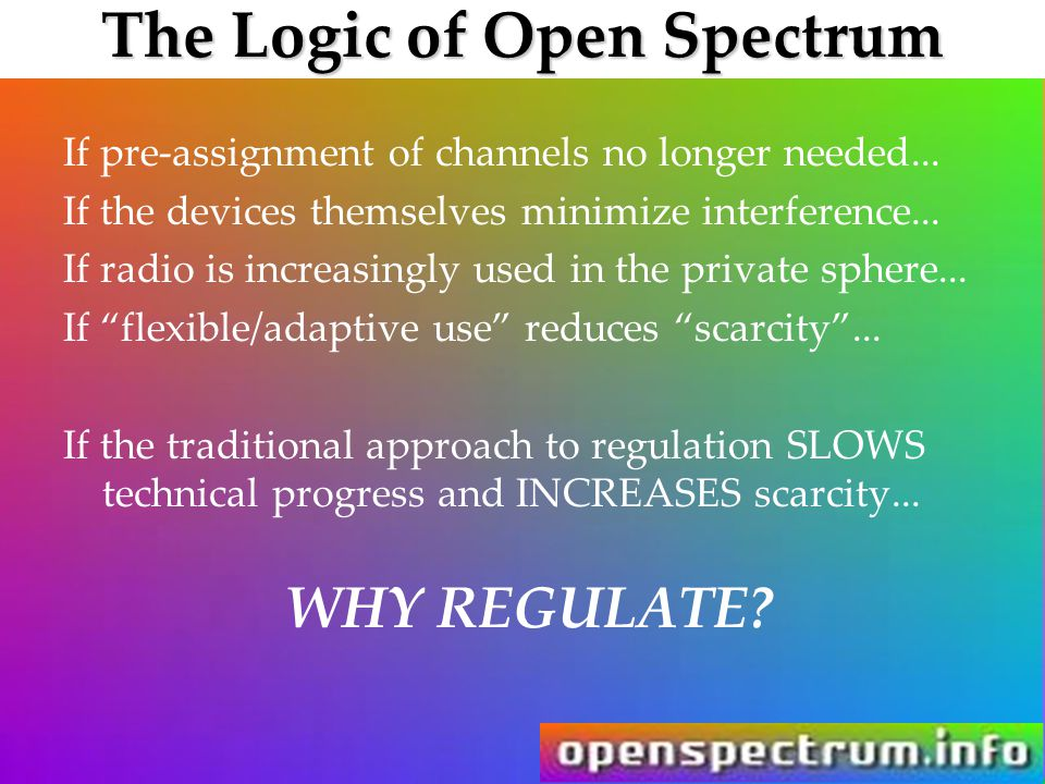 The Logic of Open Spectrum If pre-assignment of channels no longer needed... If the devices themselves minimize interference... If radio is increasing