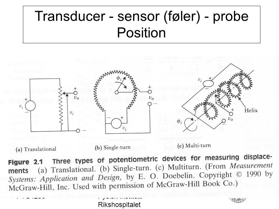 FYS4250Fysisk institutt - Rikshospitalet Transducer - sensor (føler) - probe Position