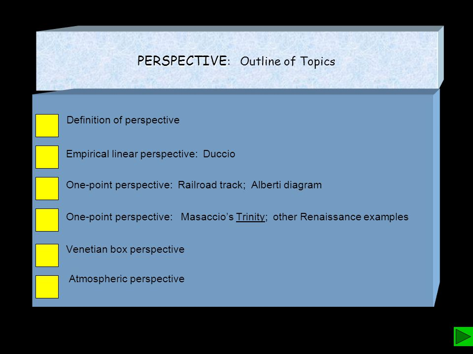 PERSPECTIVE PERSPECTIVE : Outline of Topics Definition of perspective Empirical linear perspective: Duccio One-point perspective: Railroad track; Alberti diagram One-point perspective: Masaccio's Trinity; other Renaissance examples Venetian box perspective Atmospheric perspective