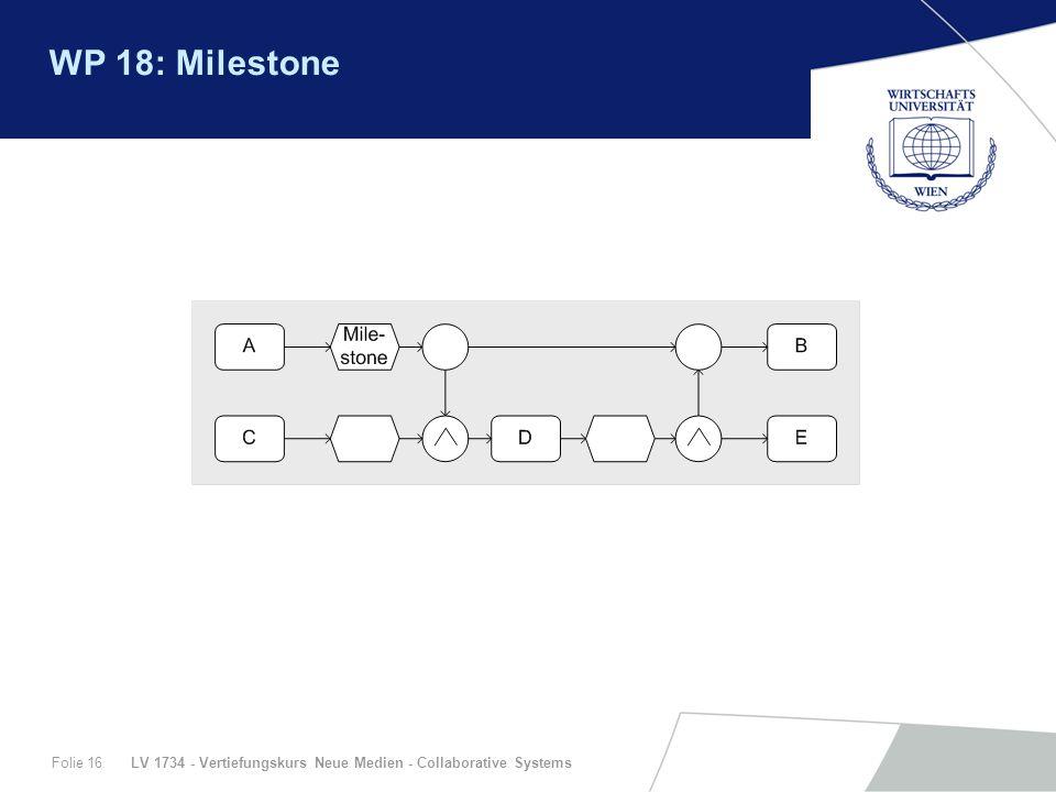 LV 1734 - Vertiefungskurs Neue Medien - Collaborative SystemsFolie 16 WP 18: Milestone
