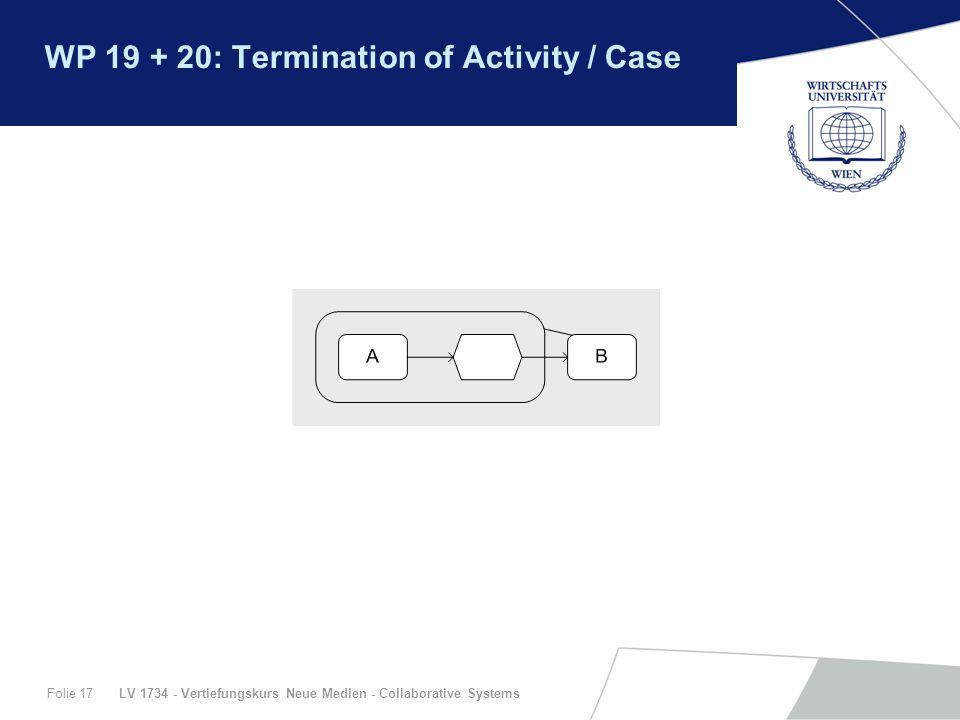 LV 1734 - Vertiefungskurs Neue Medien - Collaborative SystemsFolie 17 WP 19 + 20: Termination of Activity / Case