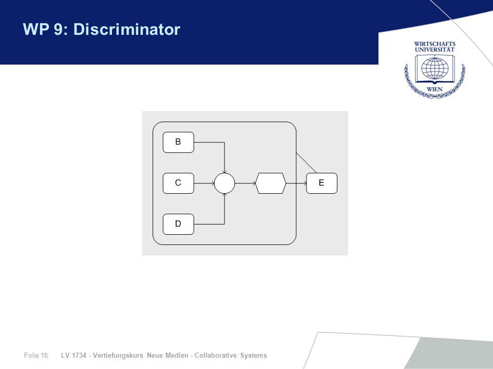 LV 1734 - Vertiefungskurs Neue Medien - Collaborative SystemsFolie 18 WP 9: Discriminator