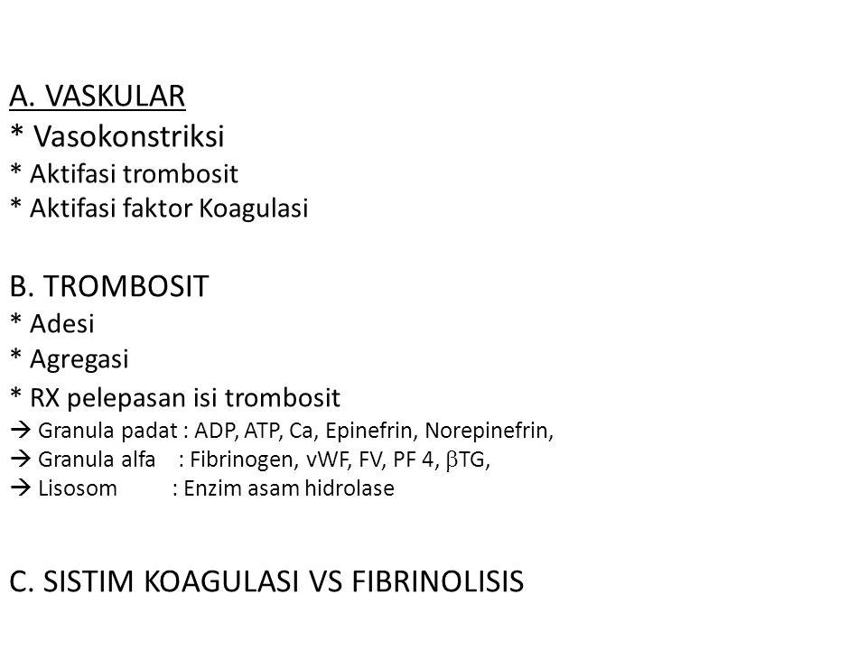 A. VASKULAR * Vasokonstriksi * Aktifasi trombosit * Aktifasi faktor Koagulasi B.