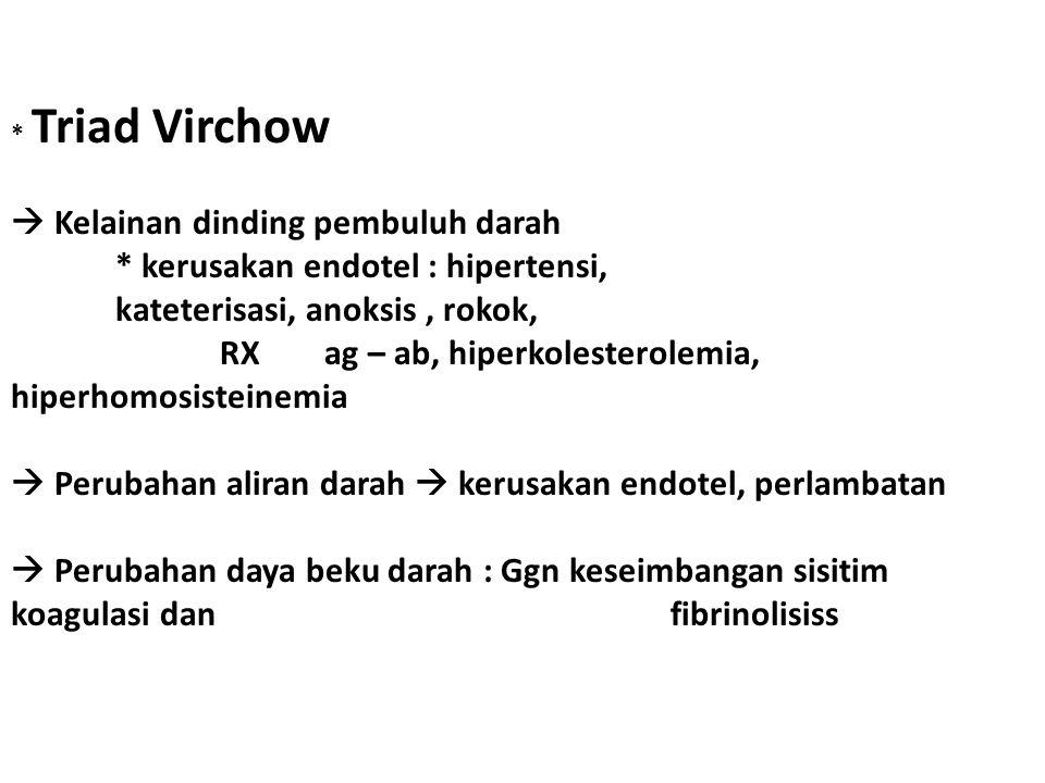 * Triad Virchow  Kelainan dinding pembuluh darah * kerusakan endotel : hipertensi, kateterisasi, anoksis, rokok, RX ag – ab, hiperkolesterolemia, hiperhomosisteinemia  Perubahan aliran darah  kerusakan endotel, perlambatan  Perubahan daya beku darah : Ggn keseimbangan sisitim koagulasi dan fibrinolisiss