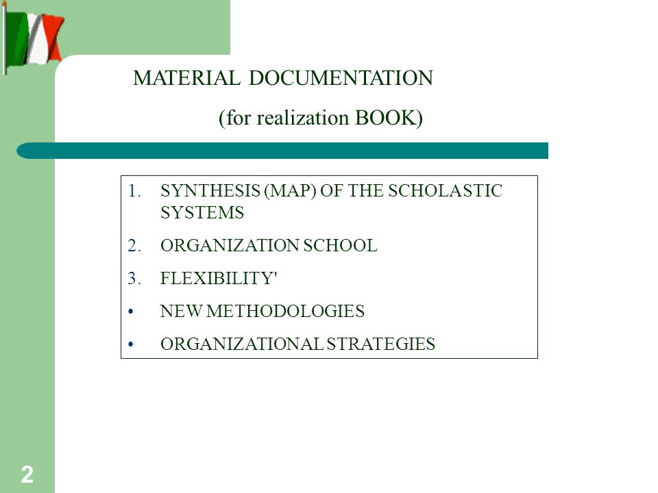 2 MATERIAL DOCUMENTATION (for realization BOOK) 1.SYNTHESIS (MAP) OF THE SCHOLASTIC SYSTEMS 2.ORGANIZATION SCHOOL 3.FLEXIBILITY NEW METHODOLOGIES ORGANIZATIONAL STRATEGIES