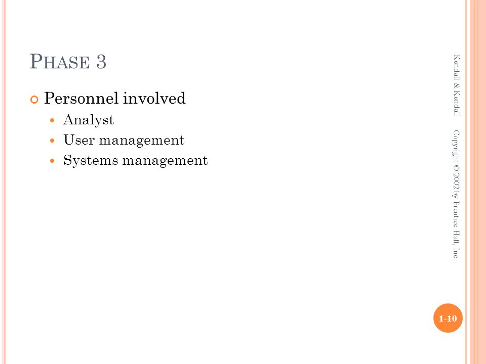 P HASE 3 Personnel involved Analyst User management Systems management Kendall & Kendall 1-10 Copyright © 2002 by Prentice Hall, Inc.