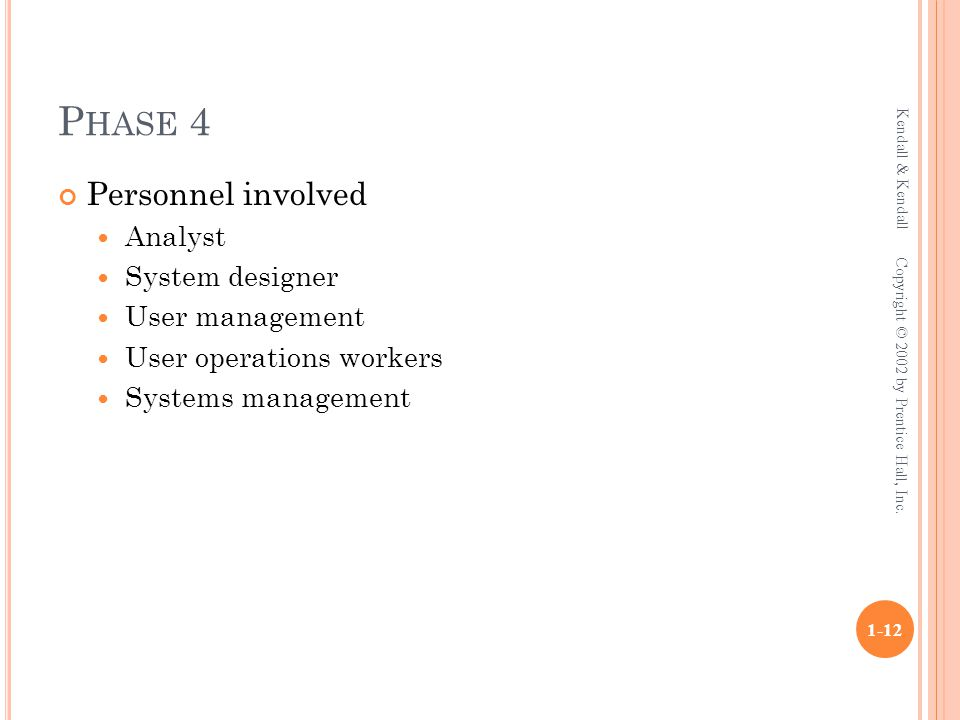 P HASE 4 Personnel involved Analyst System designer User management User operations workers Systems management Kendall & Kendall 1-12 Copyright © 2002 by Prentice Hall, Inc.