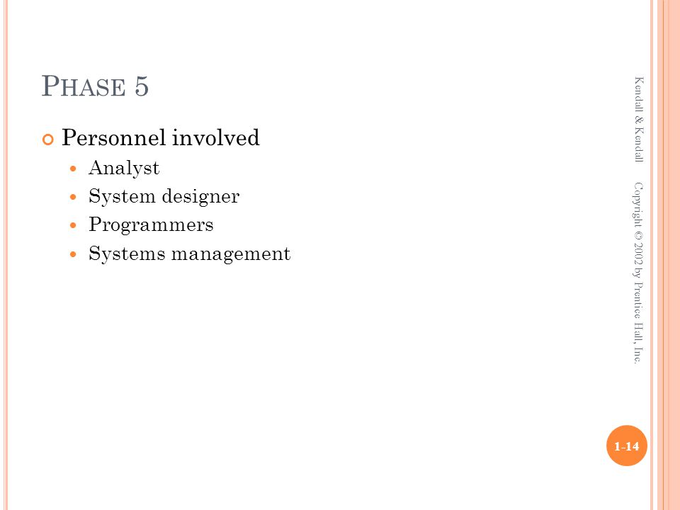 P HASE 5 Personnel involved Analyst System designer Programmers Systems management Kendall & Kendall 1-14 Copyright © 2002 by Prentice Hall, Inc.