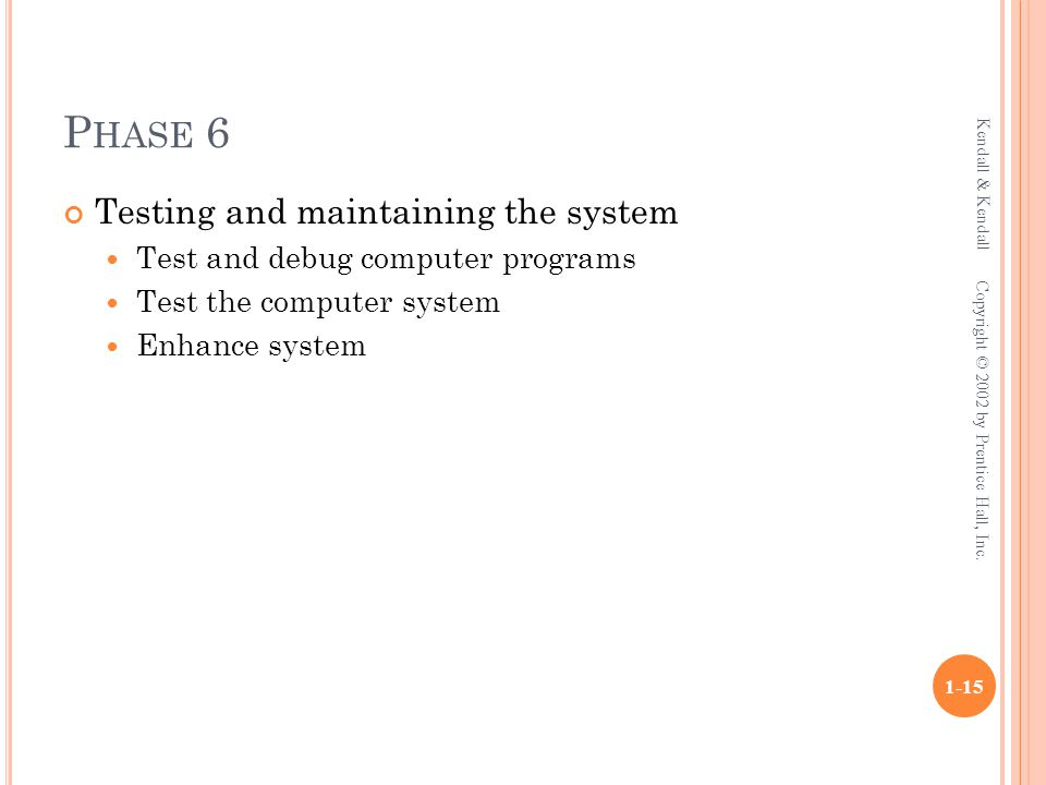 P HASE 6 Testing and maintaining the system Test and debug computer programs Test the computer system Enhance system Kendall & Kendall 1-15 Copyright © 2002 by Prentice Hall, Inc.