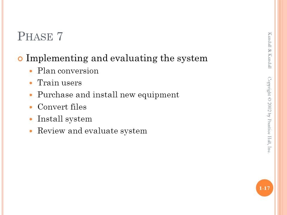 P HASE 7 Implementing and evaluating the system Plan conversion Train users Purchase and install new equipment Convert files Install system Review and evaluate system Kendall & Kendall 1-17 Copyright © 2002 by Prentice Hall, Inc.
