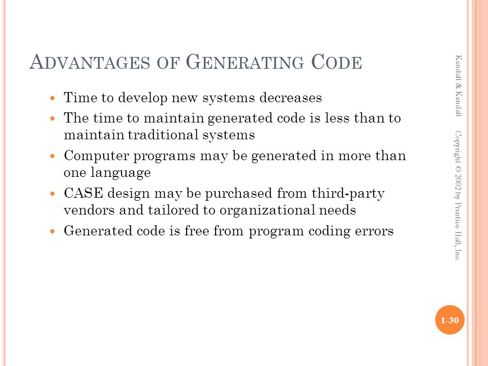 A DVANTAGES OF G ENERATING C ODE Time to develop new systems decreases The time to maintain generated code is less than to maintain traditional systems Computer programs may be generated in more than one language CASE design may be purchased from third-party vendors and tailored to organizational needs Generated code is free from program coding errors Kendall & Kendall 1-30 Copyright © 2002 by Prentice Hall, Inc.