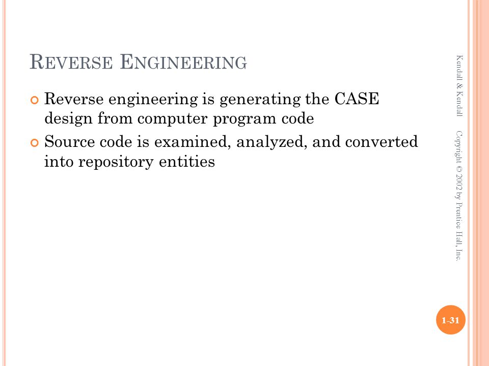 R EVERSE E NGINEERING Reverse engineering is generating the CASE design from computer program code Source code is examined, analyzed, and converted in
