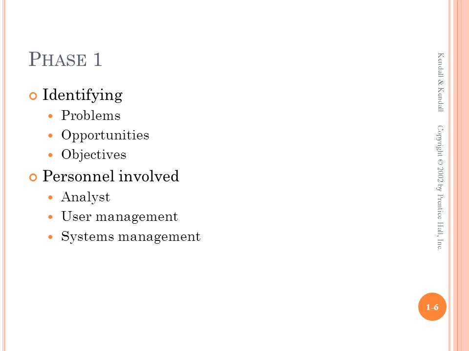 P HASE 1 Identifying Problems Opportunities Objectives Personnel involved Analyst User management Systems management Kendall & Kendall 1-6 Copyright © 2002 by Prentice Hall, Inc.