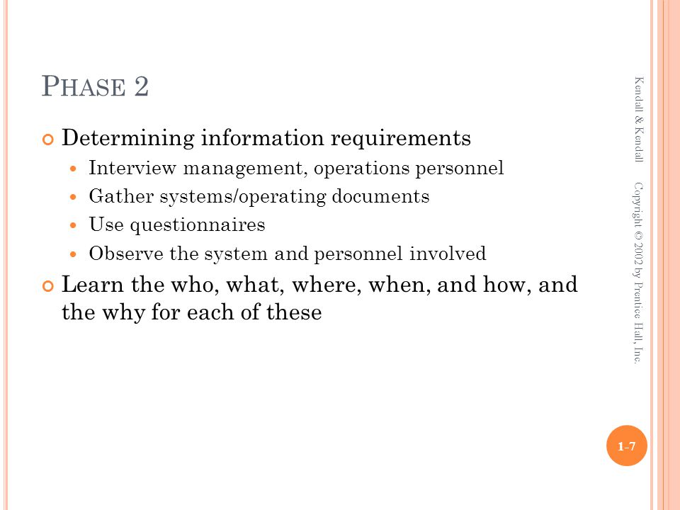 P HASE 7 Personnel involved Analyst System designer Programmers User management User operations workers Systems management Kendall & Kendall 1-18 Copyright © 2002 by Prentice Hall, Inc.