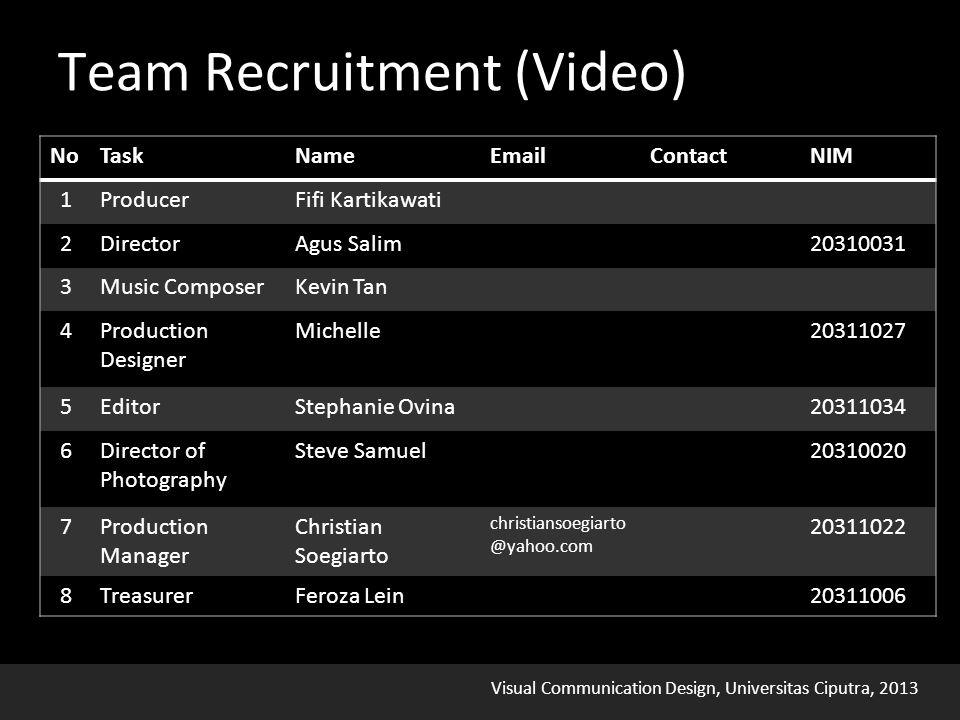 Visual Communication Design, Universitas Ciputra, 2013 Team Recruitment (Video)