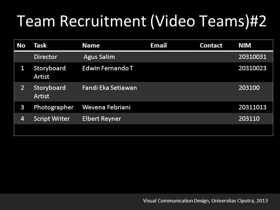 Visual Communication Design, Universitas Ciputra, 2013 Team Recruitment (Video Teams)#2
