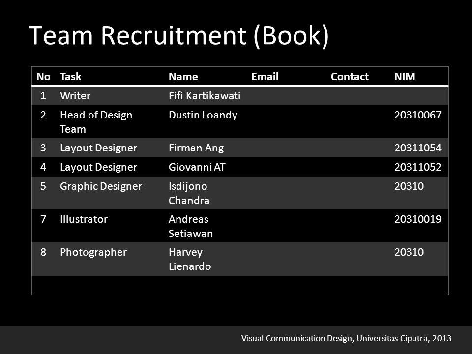 Visual Communication Design, Universitas Ciputra, 2013 Team Recruitment (Book)
