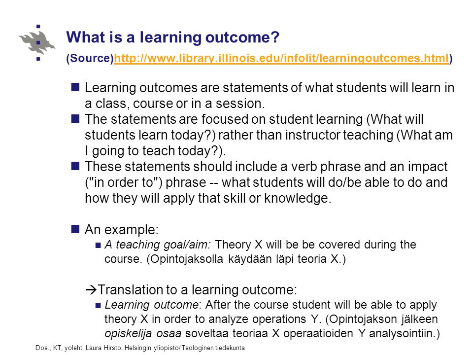 What is a learning outcome.