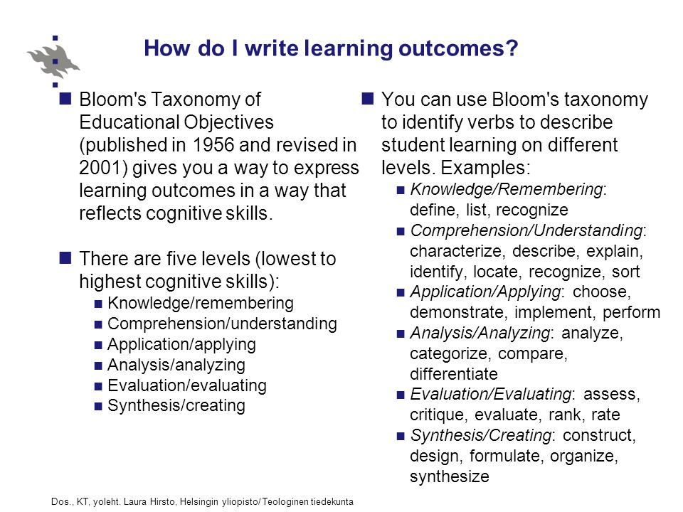 How do I write learning outcomes.