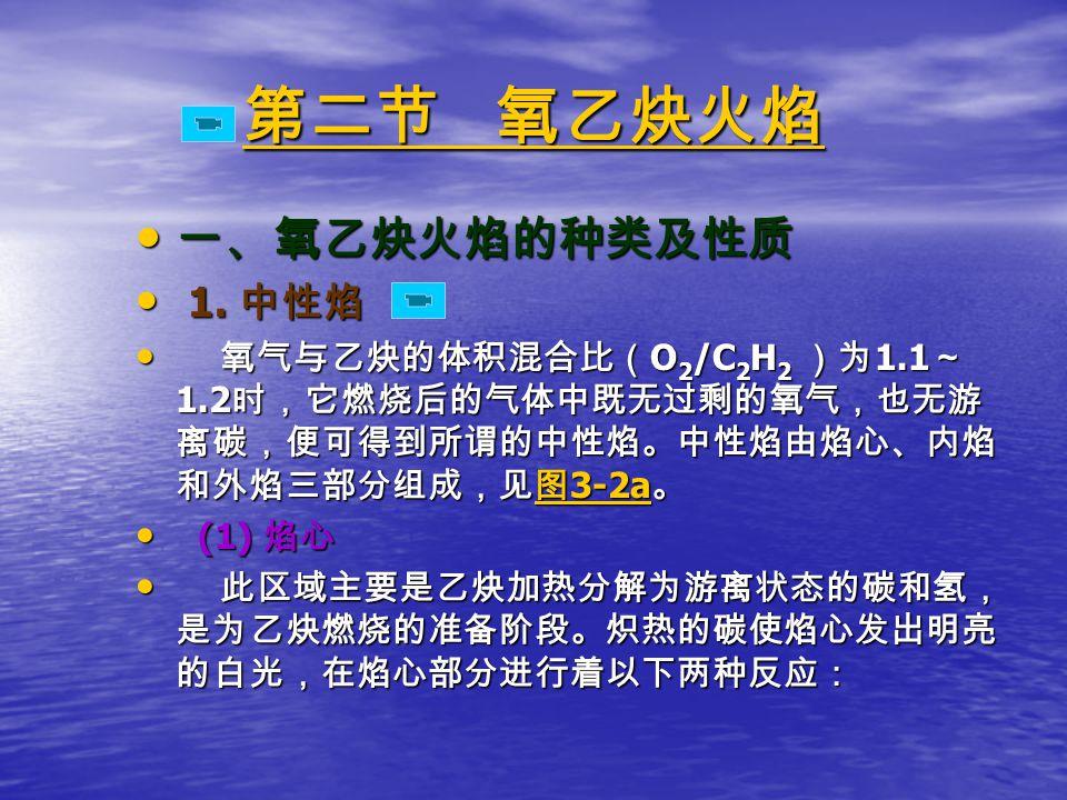 第二节 氧乙炔火焰 第二节 氧乙炔火焰 一、氧乙炔火焰的种类及性质 一、氧乙炔火焰的种类及性质 1.