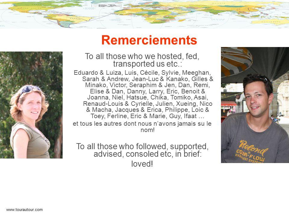 www.tourautour.com Remerciements To all those who we hosted, fed, transported us etc.: Eduardo & Luiza, Luis, Cécile, Sylvie, Meeghan, Sarah & Andrew, Jean-Luc & Kanako, Gilles & Minako, Victor, Seraphim & Jen, Dan, Remi, Elise & Dan, Danny, Larry, Eric, Benoit & Joanna, Niel, Hatsue, Chika, Tomiko, Asai, Renaud-Louis & Cyrielle, Julien, Xueing, Nico & Macha, Jacques & Erica, Philippe, Loic & Toey, Ferline, Eric & Marie, Guy, Ifaat … et tous les autres dont nous n'avons jamais su le nom.