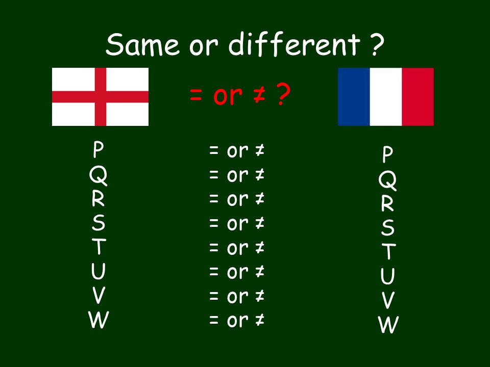 Same or different ? = or ≠ ? PQRSTUVW PQRSTUVW = or ≠ PQRSTUVW PQRSTUVW