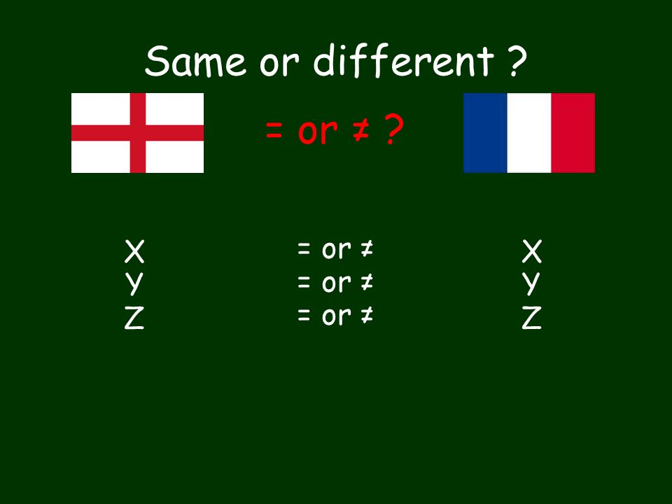 Same or different ? XYZXYZ = or ≠ ? = or ≠ XYZXYZ