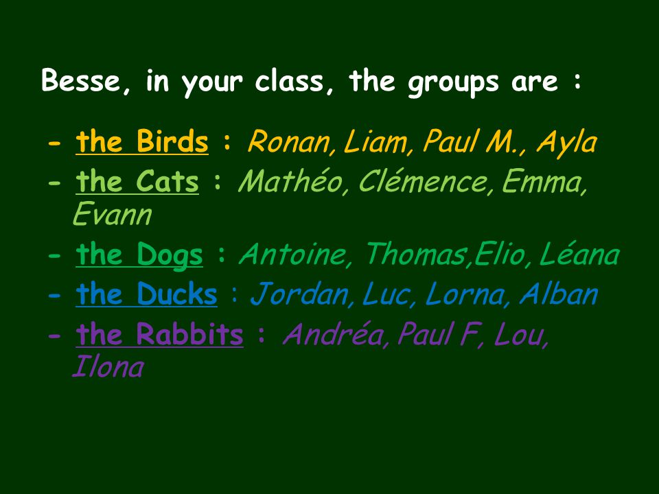 Besse, in your class, the groups are : - the Birds : Ronan, Liam, Paul M., Ayla - the Cats : Mathéo, Clémence, Emma, Evann - the Dogs : Antoine, Thoma