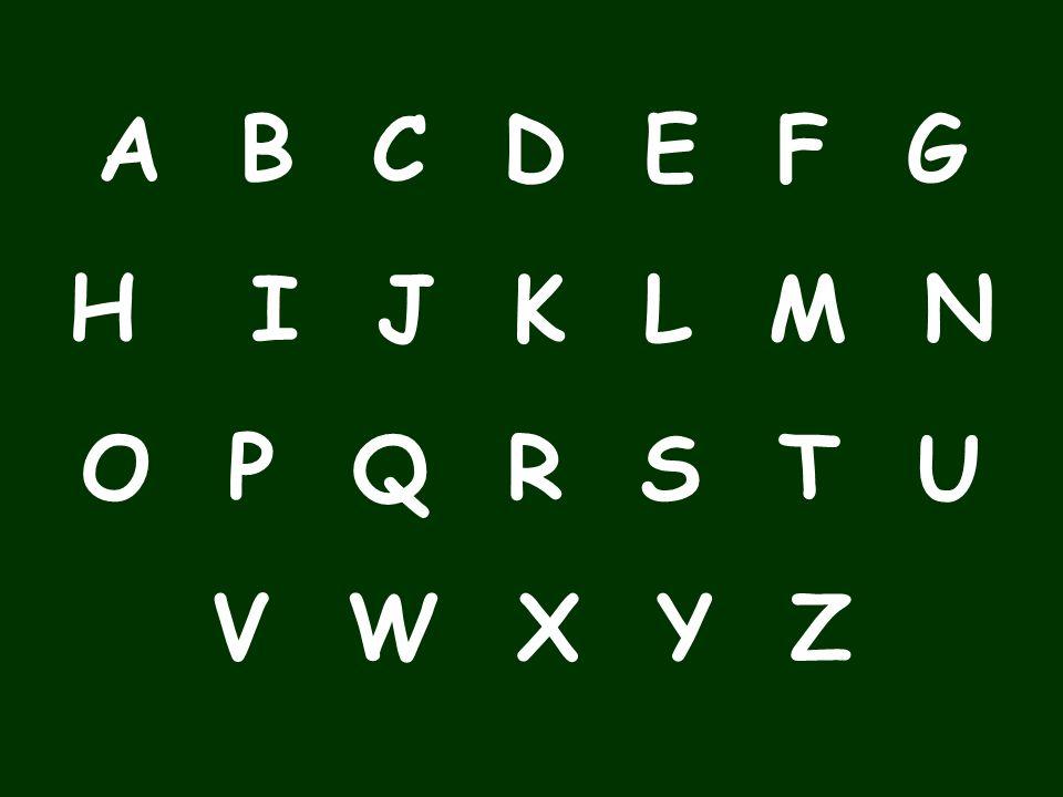 The alphabet A B C D E F G H I J K L M N O P Q R S T U V W X Y Z