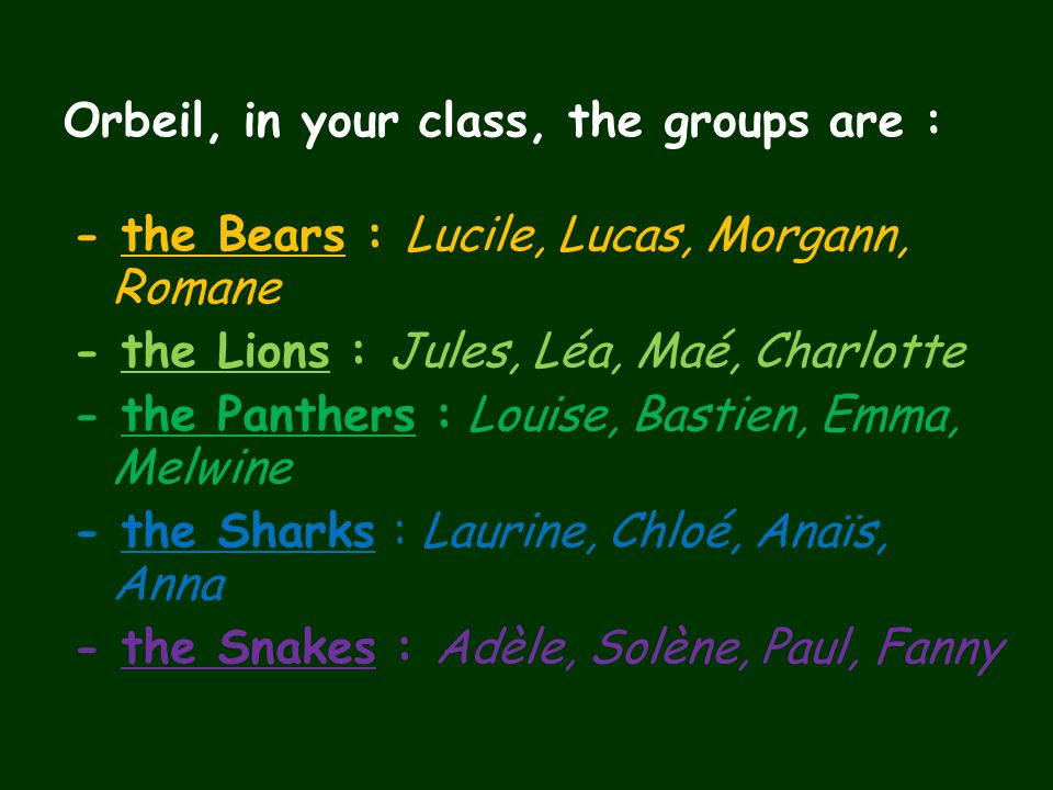 Orbeil, in your class, the groups are : - the Bears : Lucile, Lucas, Morgann, Romane - the Lions : Jules, Léa, Maé, Charlotte - the Panthers : Louise,
