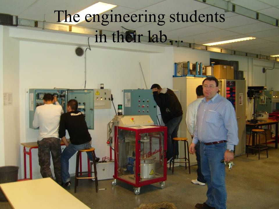 The engineering students in their lab…