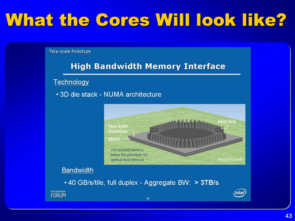 43 What the Cores Will look like?