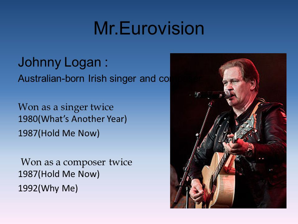Mr.Eurovision Johnny Logan : Australian-born Irish singer and composer Won as a singer twice 1980(What's Another Year) 1987(Hold Me Now) Won as a comp
