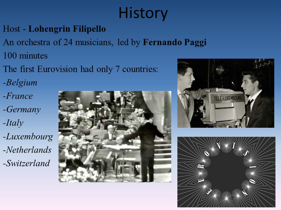 History Host - Lohengrin Filipello An orchestra of 24 musicians, led by Fernando Paggi 100 minutes The first Eurovision had only 7 countries: -Belgium -France -Germany -Italy -Luxembourg -Netherlands -Switzerland
