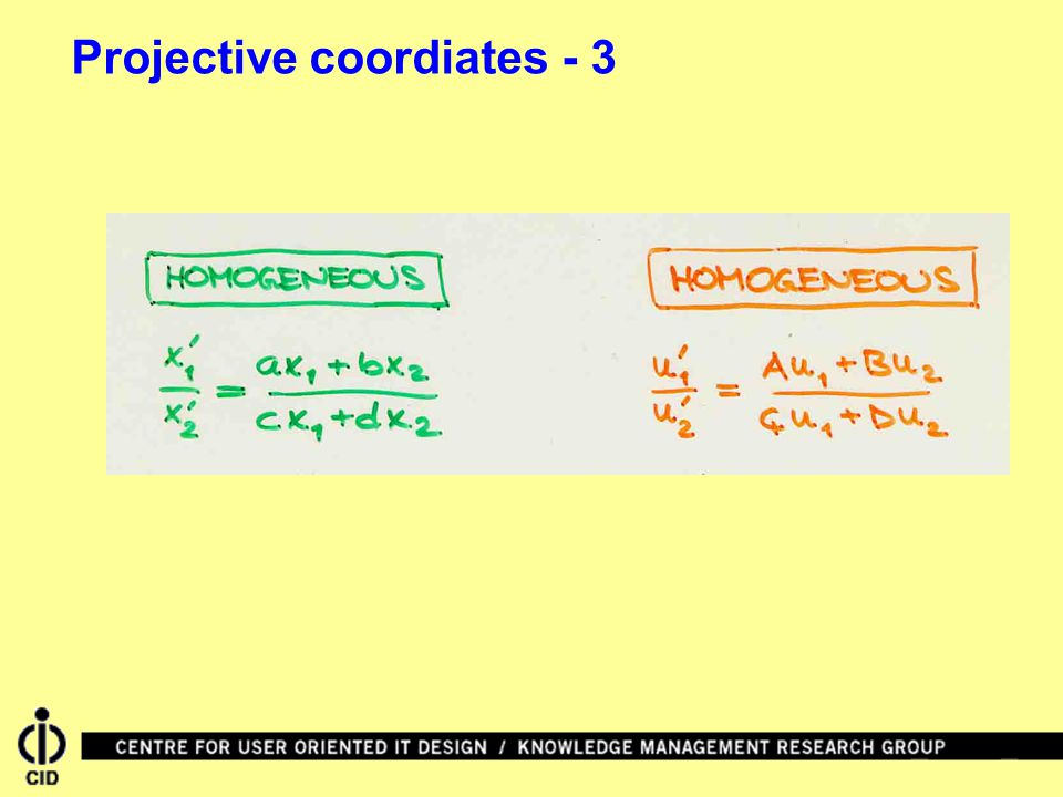 Projective coordiates - 3
