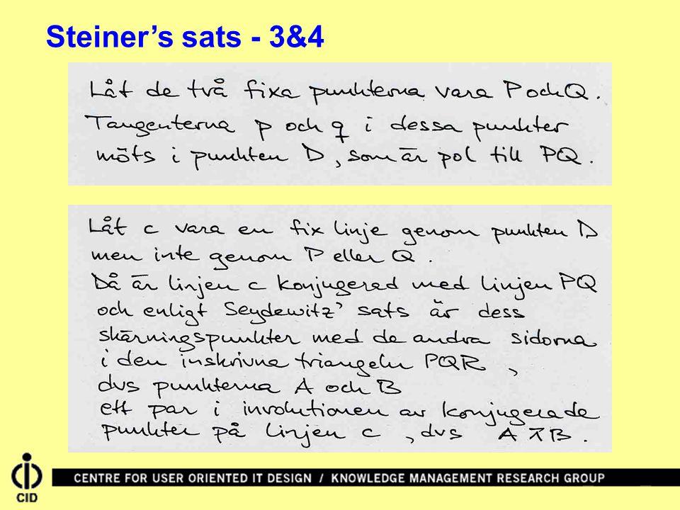 Steiner's sats - 3&4