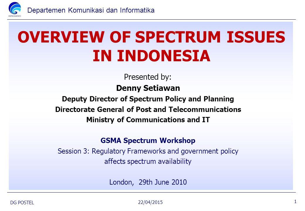 Departemen Komunikasi dan Informatika OVERVIEW OF SPECTRUM ISSUES IN INDONESIA 22/04/2015 DG POSTEL Presented by: Denny Setiawan Deputy Director of Sp