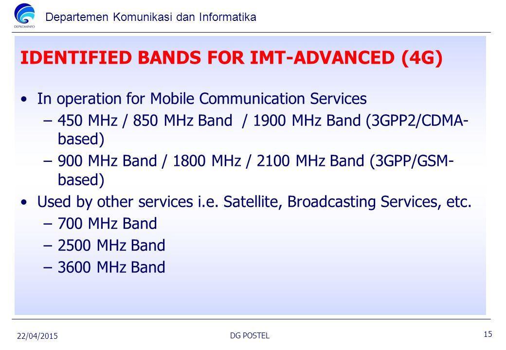 Departemen Komunikasi dan Informatika IDENTIFIED BANDS FOR IMT-ADVANCED (4G) In operation for Mobile Communication Services –450 MHz / 850 MHz Band /