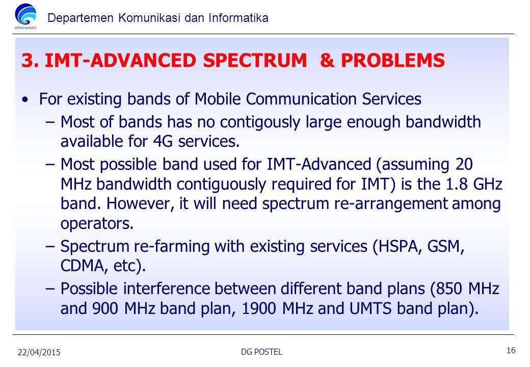 Departemen Komunikasi dan Informatika 3. IMT-ADVANCED SPECTRUM & PROBLEMS For existing bands of Mobile Communication Services –Most of bands has no co