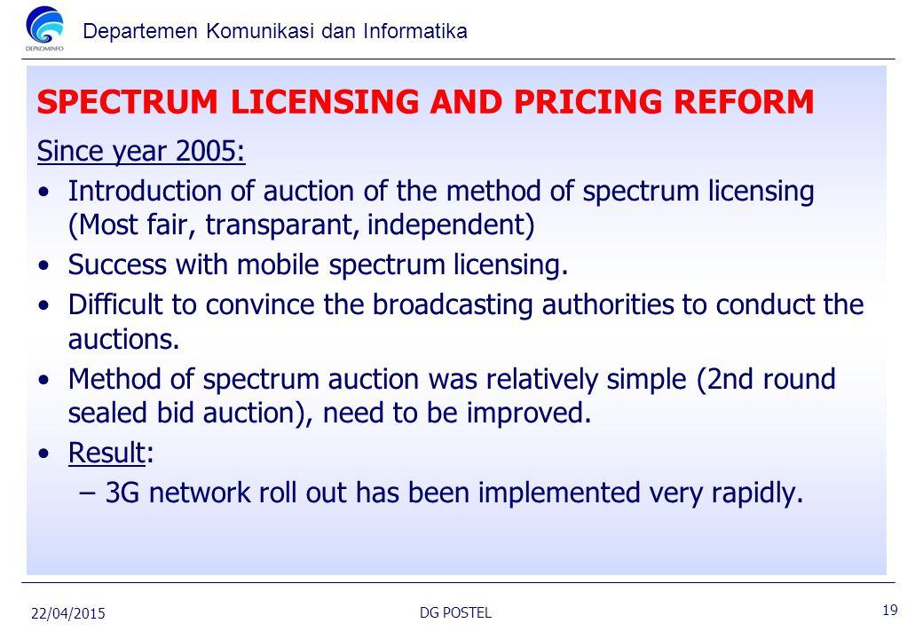 Departemen Komunikasi dan Informatika SPECTRUM LICENSING AND PRICING REFORM Since year 2005: Introduction of auction of the method of spectrum licensi