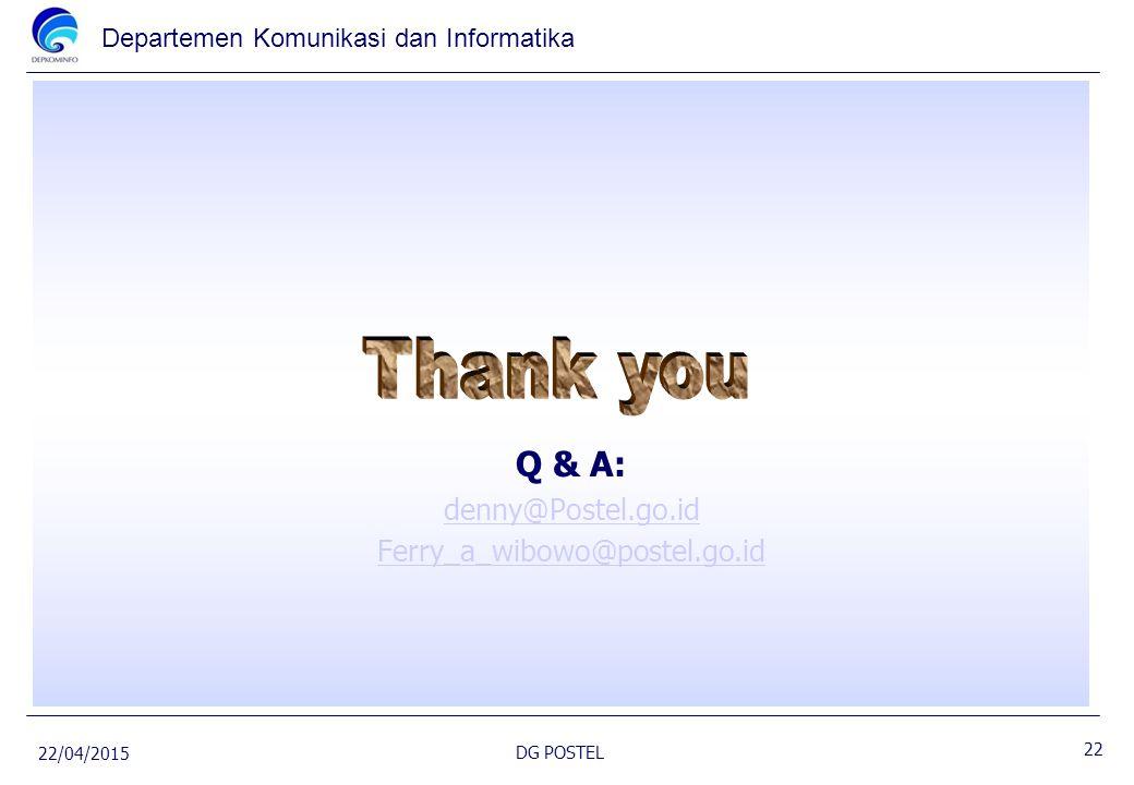 Departemen Komunikasi dan Informatika Q & A: denny@Postel.go.id Ferry_a_wibowo@postel.go.id 22/04/2015 DG POSTEL 22