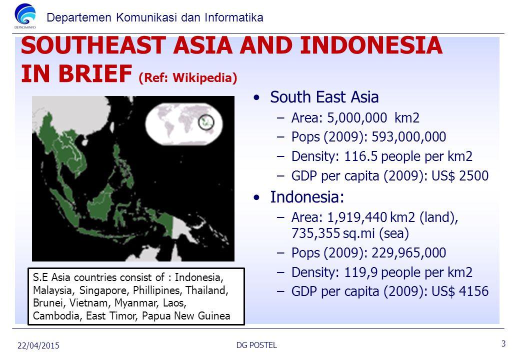 Departemen Komunikasi dan Informatika SOUTHEAST ASIA AND INDONESIA IN BRIEF (Ref: Wikipedia) South East Asia –Area: 5,000,000 km2 –Pops (2009): 593,00
