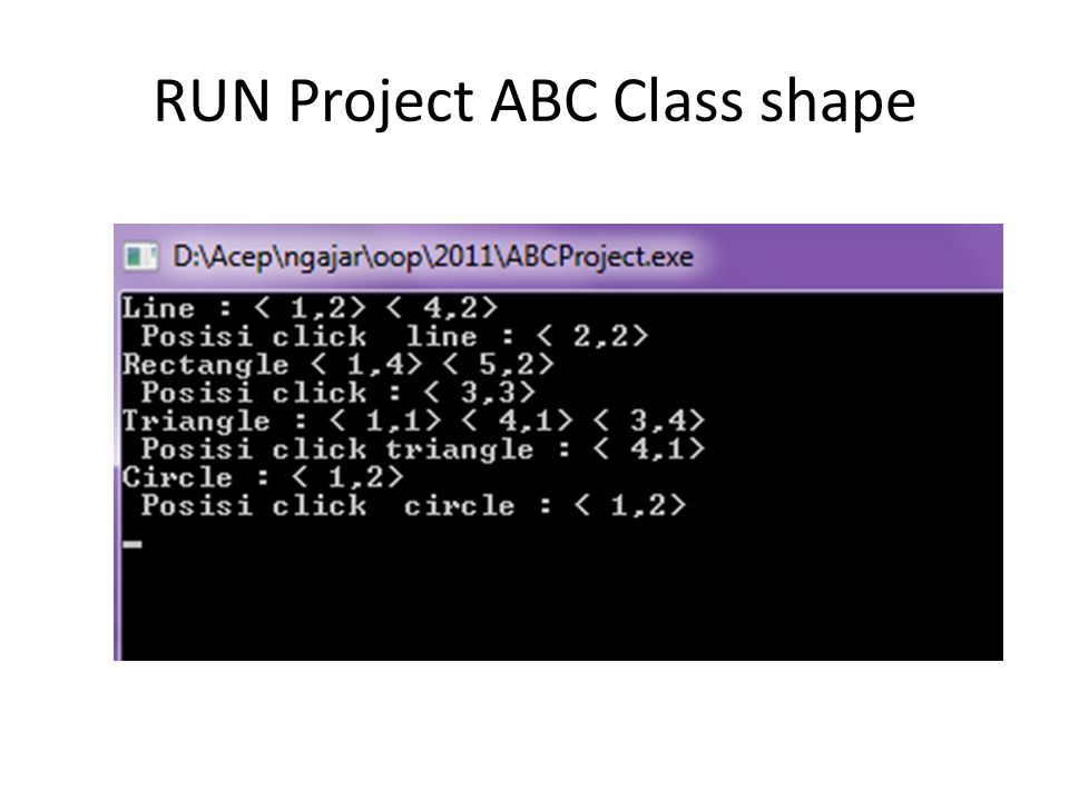 RUN Project ABC Class shape
