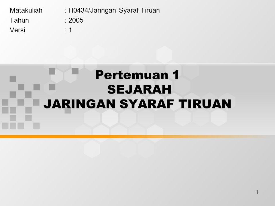 1 Pertemuan 1 SEJARAH JARINGAN SYARAF TIRUAN Matakuliah: H0434/Jaringan Syaraf Tiruan Tahun: 2005 Versi: 1