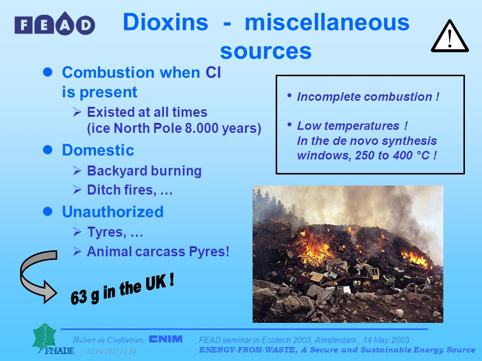 Hubert de Chefdebien, 22/04/2015 11:31 FEAD seminar in Ecotech 2003, Amsterdam, 14 May 2003 : ENERGY-FROM-WASTE, A Secure and Sustainable Energy Source Dioxins - miscellaneous sources lCombustion when Cl is present  Existed at all times (ice North Pole 8.000 years) lDomestic  Backyard burning  Ditch fires, … lUnauthorized  Tyres, …  Animal carcass Pyres.