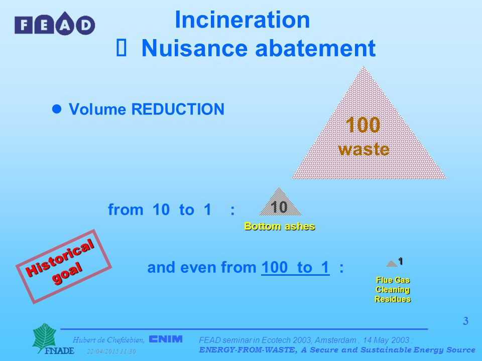 Hubert de Chefdebien, 22/04/2015 11:31 FEAD seminar in Ecotech 2003, Amsterdam, 14 May 2003 : ENERGY-FROM-WASTE, A Secure and Sustainable Energy Source 4 Incineration  Nuisance abatement lPut an end to unpleasantness  Abatement of olfactory & Nuisances visual Historical goal