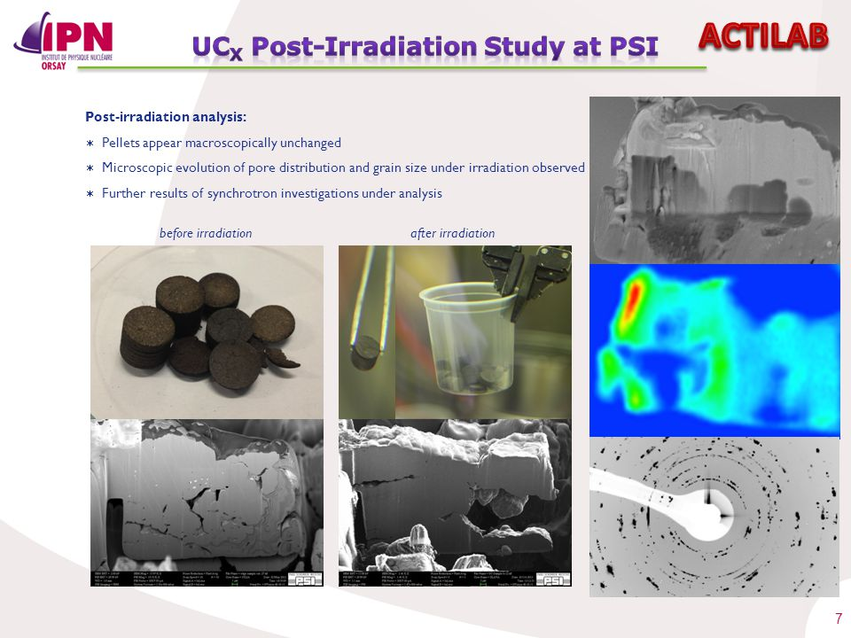 7 Post-irradiation analysis: 2µm before irradiationafter irradiation  Pellets appear macroscopically unchanged  Microscopic evolution of pore distri